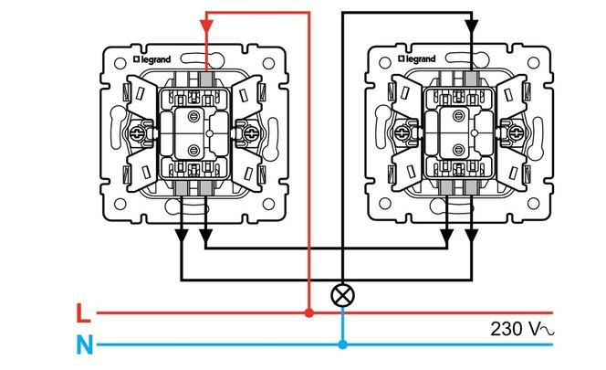 Схема подключения двухклавишного выключателя шнайдер