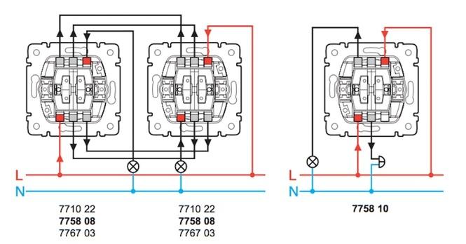 Как подключит двухклавишный проходной выключатель схема подключения