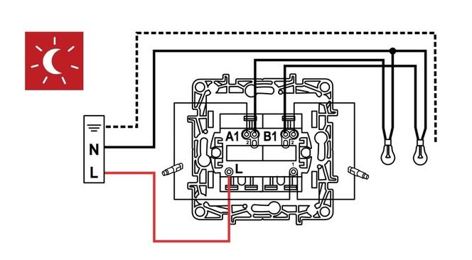 Схема подключения выключателя Legrand Etika 672404 в режиме ночной подсветки