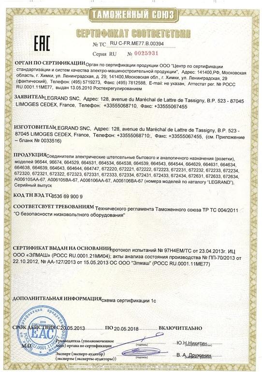 Сертификаты соответствия на розетки серии электроустановочных изделий Legrand Etika. p1