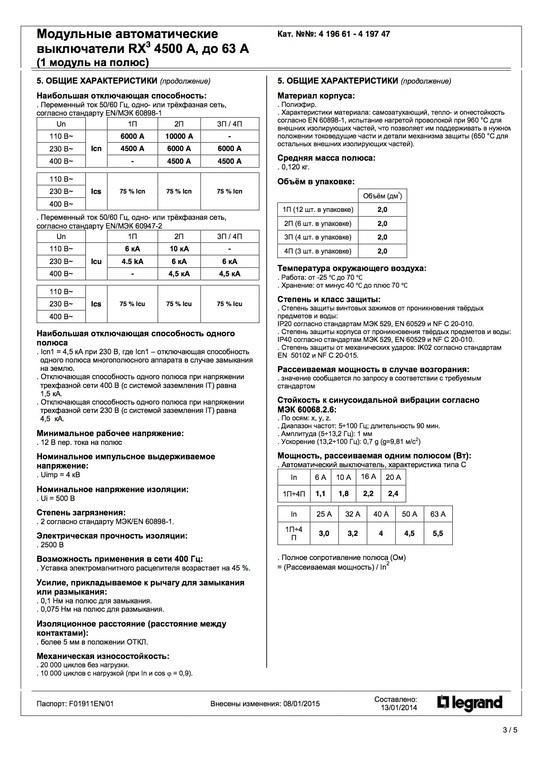 Модульные автоматические выключатели RX3 характеристики p1