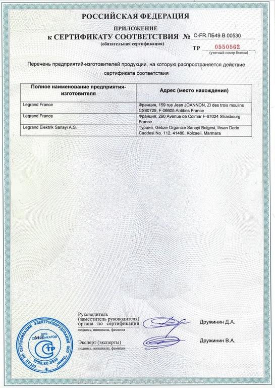 Сертификат соответствия на выключатели дифференциального тока (УЗО) Legrand DX3, TX3, RX3 p3