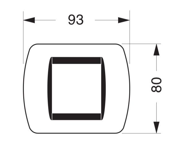 Размеры рамки Bticino L4802OR